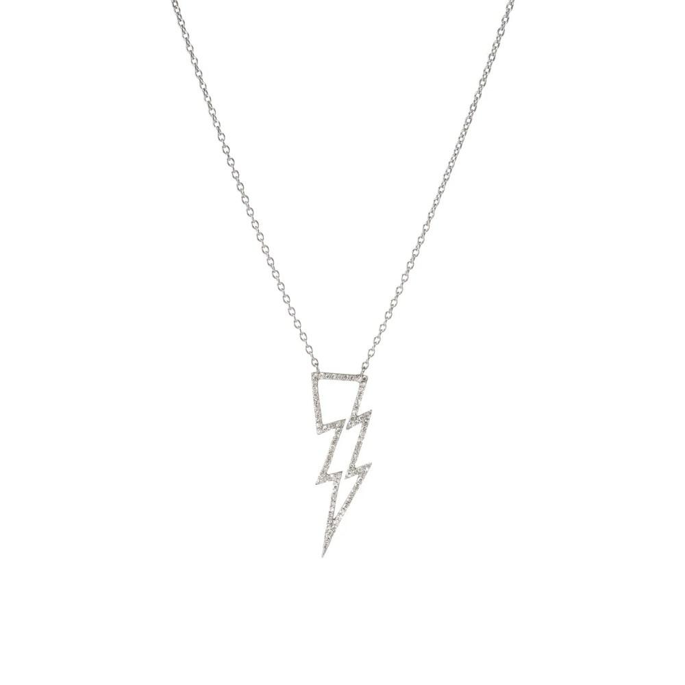 Open Design Diamond Lightning Bolt Necklace Silver