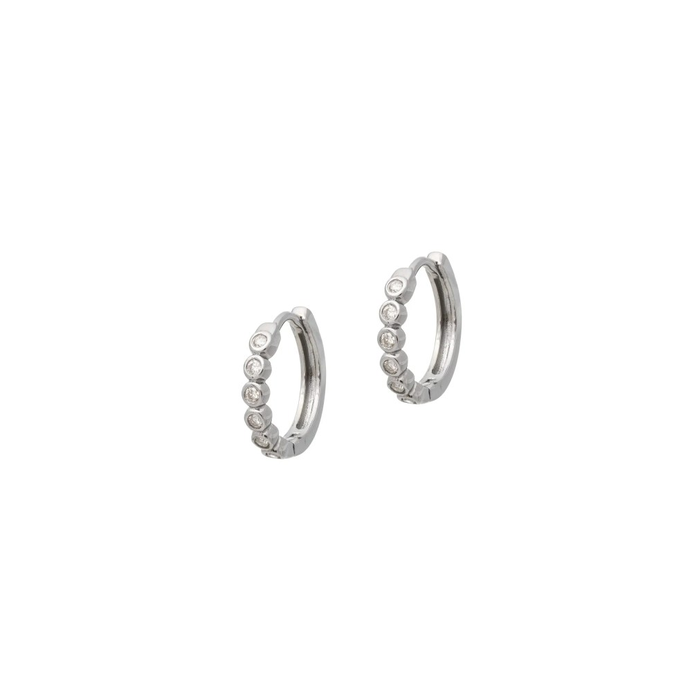 Bezel Set Diamond Huggies Silver