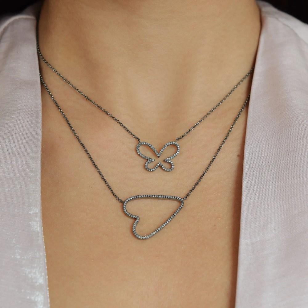 Diamond Open Sideway Heart Necklace