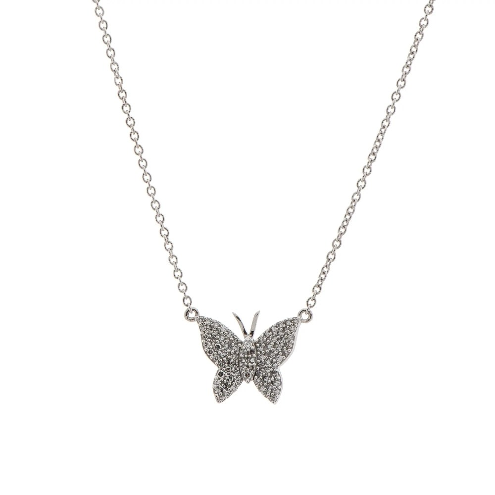 Medium Diamond Butterfly Necklace Sterling Silver