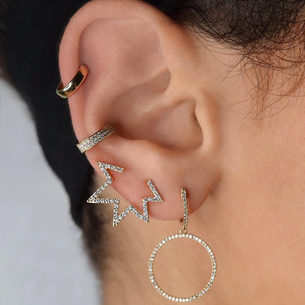 Open Mod Diamond Star Earrings