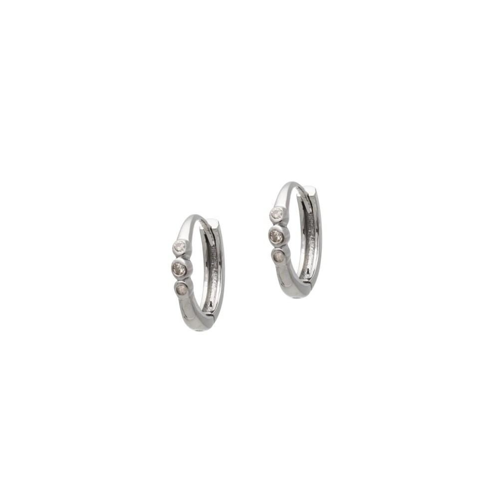 Triple Diamond Huggies Rhodium Sterling Silver