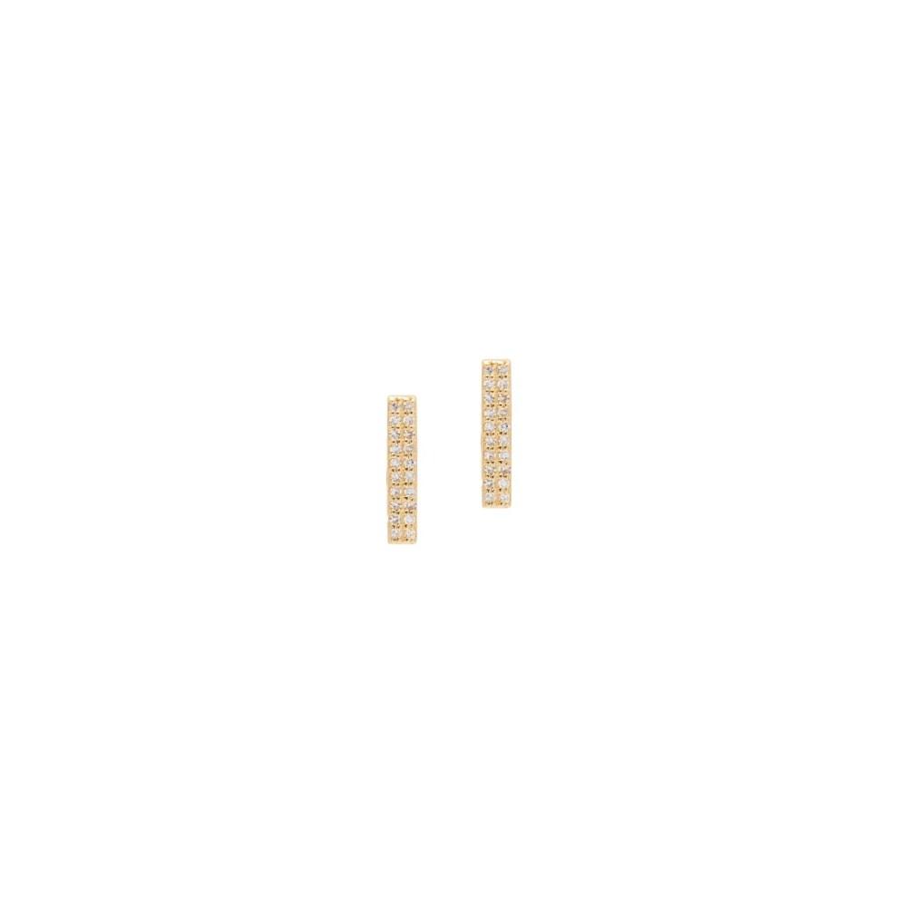 Diamond Bar Earrings Yellow Gold