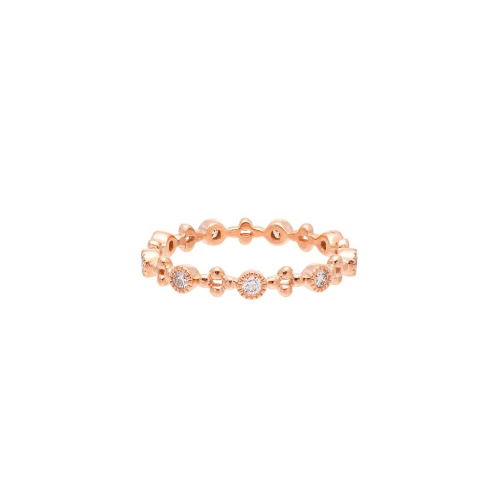 Diamond Bezel + Beaded Stacking Ring Rose Gold