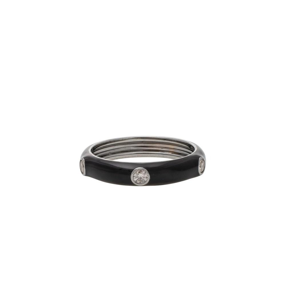 Diamond Black Enamel Band Silver