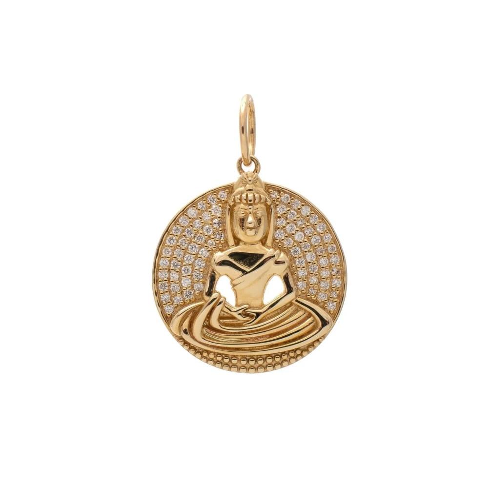 Diamond Buddha Circle Charm Yellow Gold