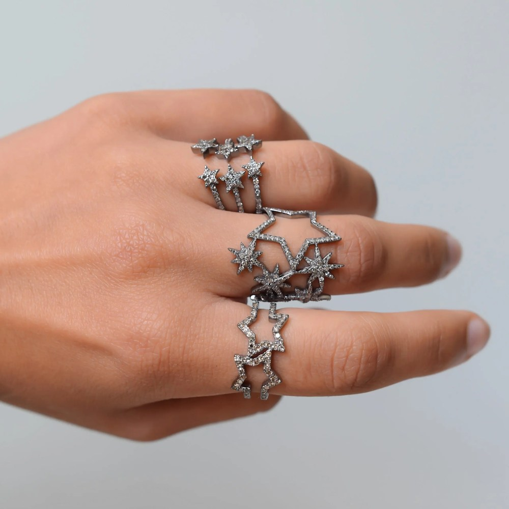 Diamond Double Star Ring