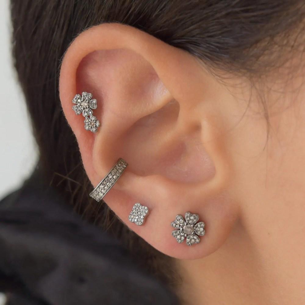 Diamond Mini Double Flower Earrings