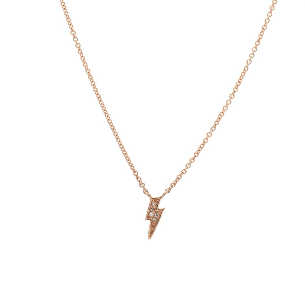 Diamond Mini Lightning Bolt Necklace Rose Gold