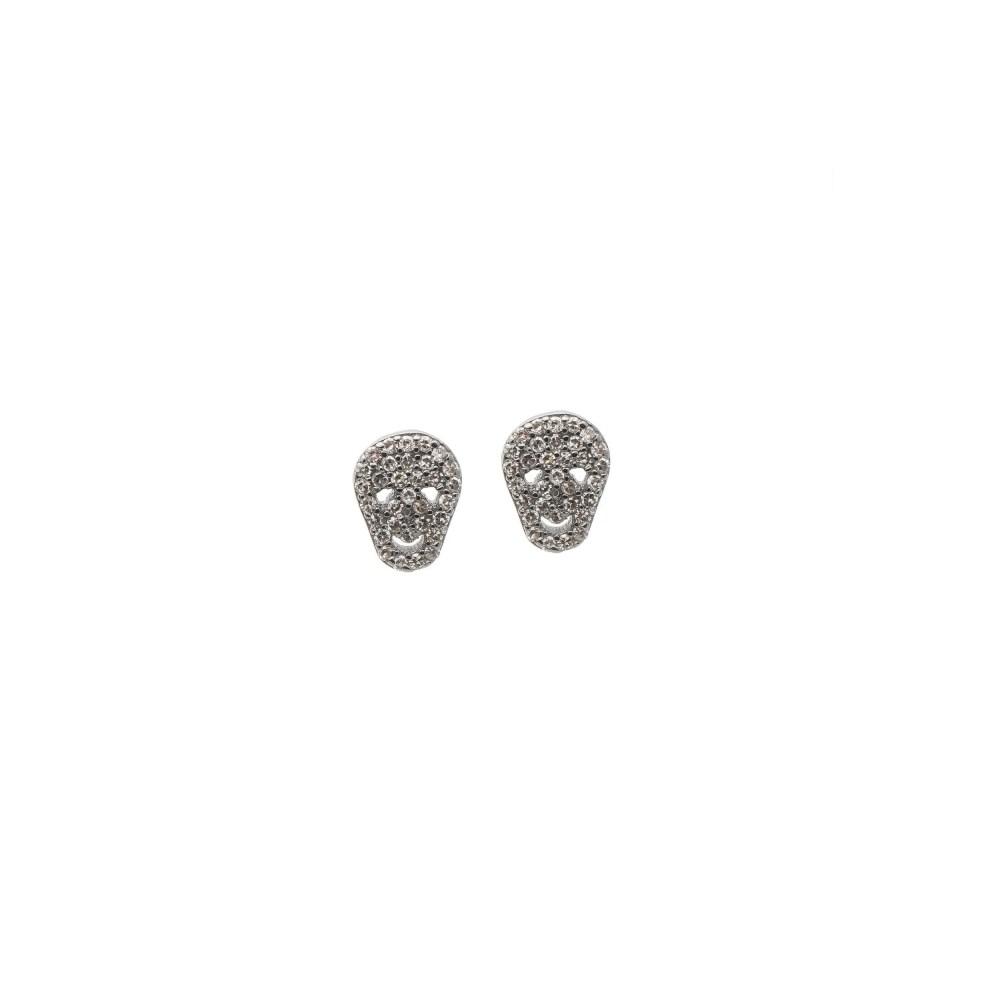 Diamond Mini Skull Earrings