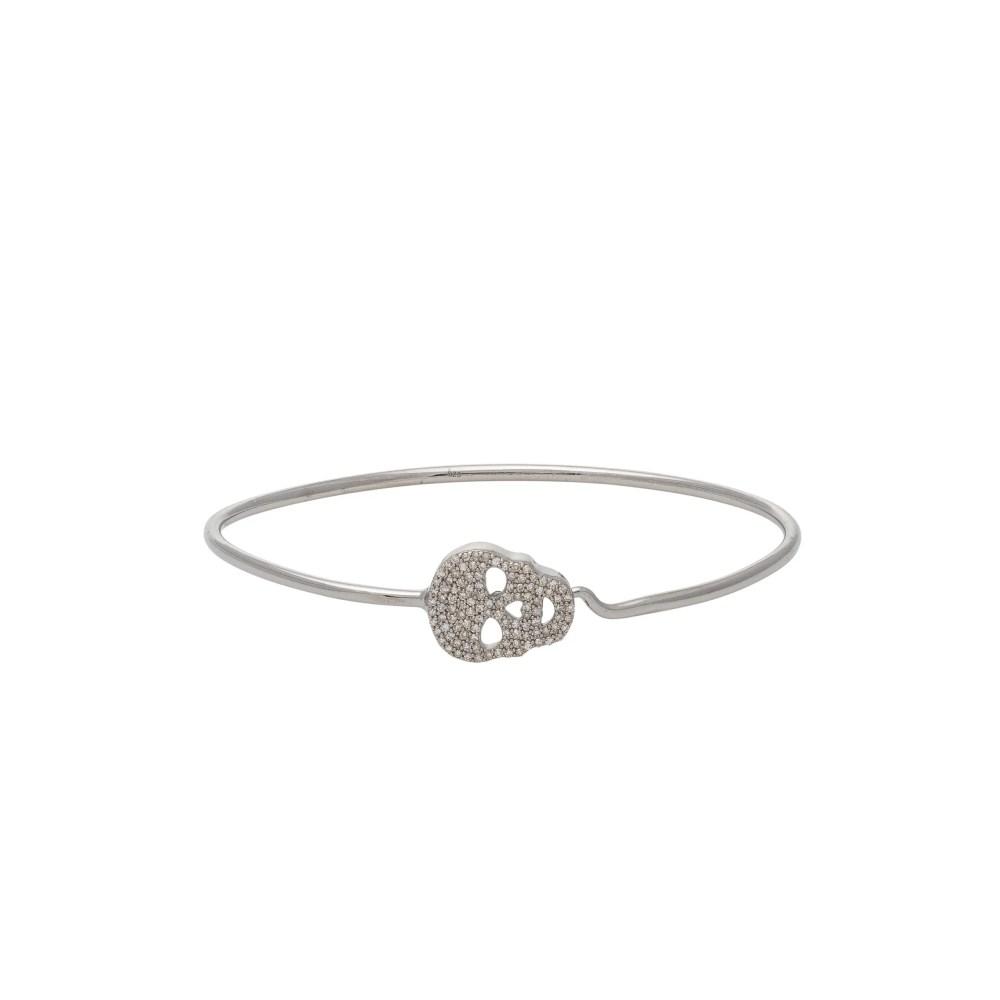 Diamond Skull Wire Bracelet Sterling Silver