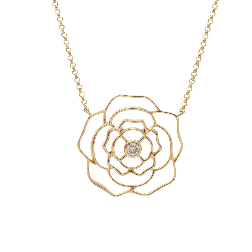 Diamond Solitaire Rose Necklace Yellow Gold