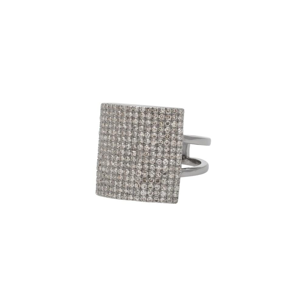 Diamond Square Statement Ring Silver