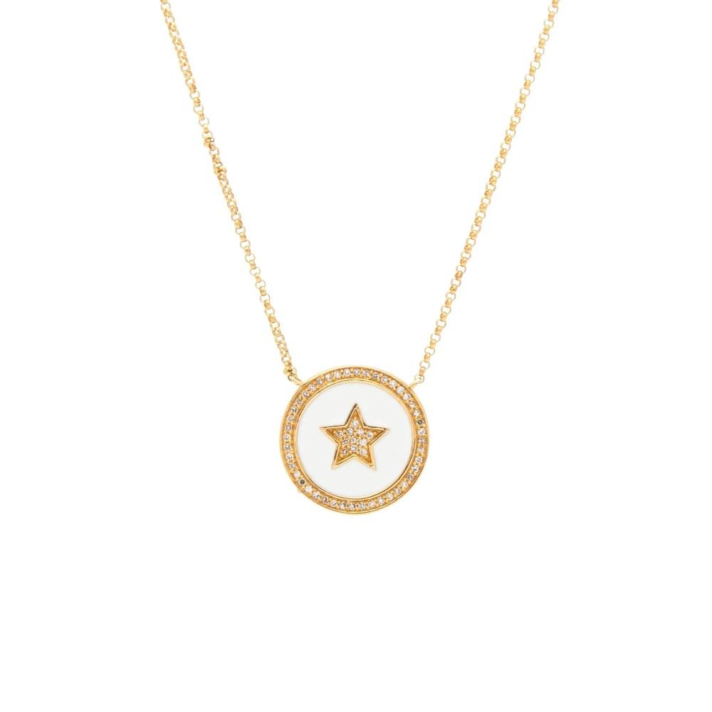Diamond Star White Enamel Disc Necklace Yellow Gold