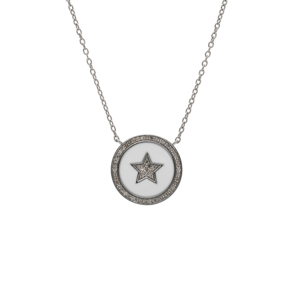 Diamond Star White Enamel Disc Necklace