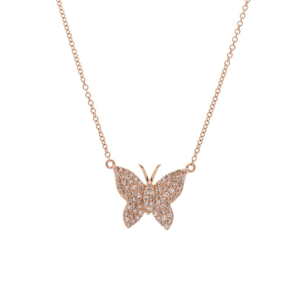 Medium Diamond Butterfly Necklace Rose Gold