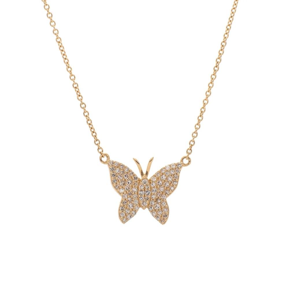 Medium Diamond Butterfly Necklace Yellow Gold