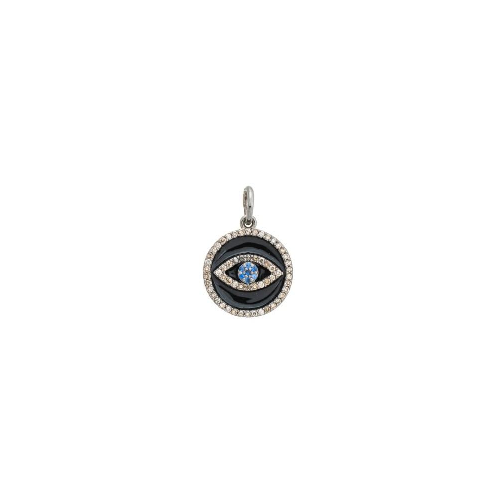 Mini Diamond Black Enamel Evil Eye with Sapphires Charm Sterling Silver