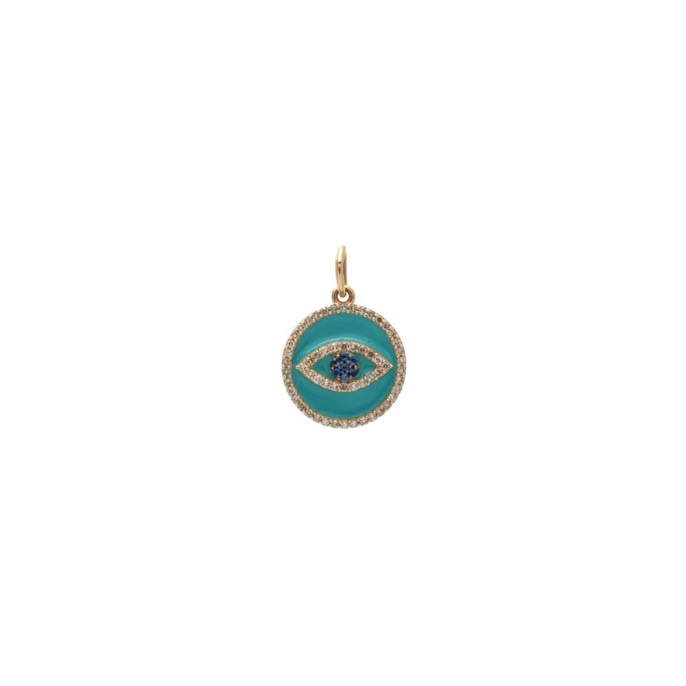 Mini Diamond Turquoise Enamel Evil Eye with Sapphires Charm Gold