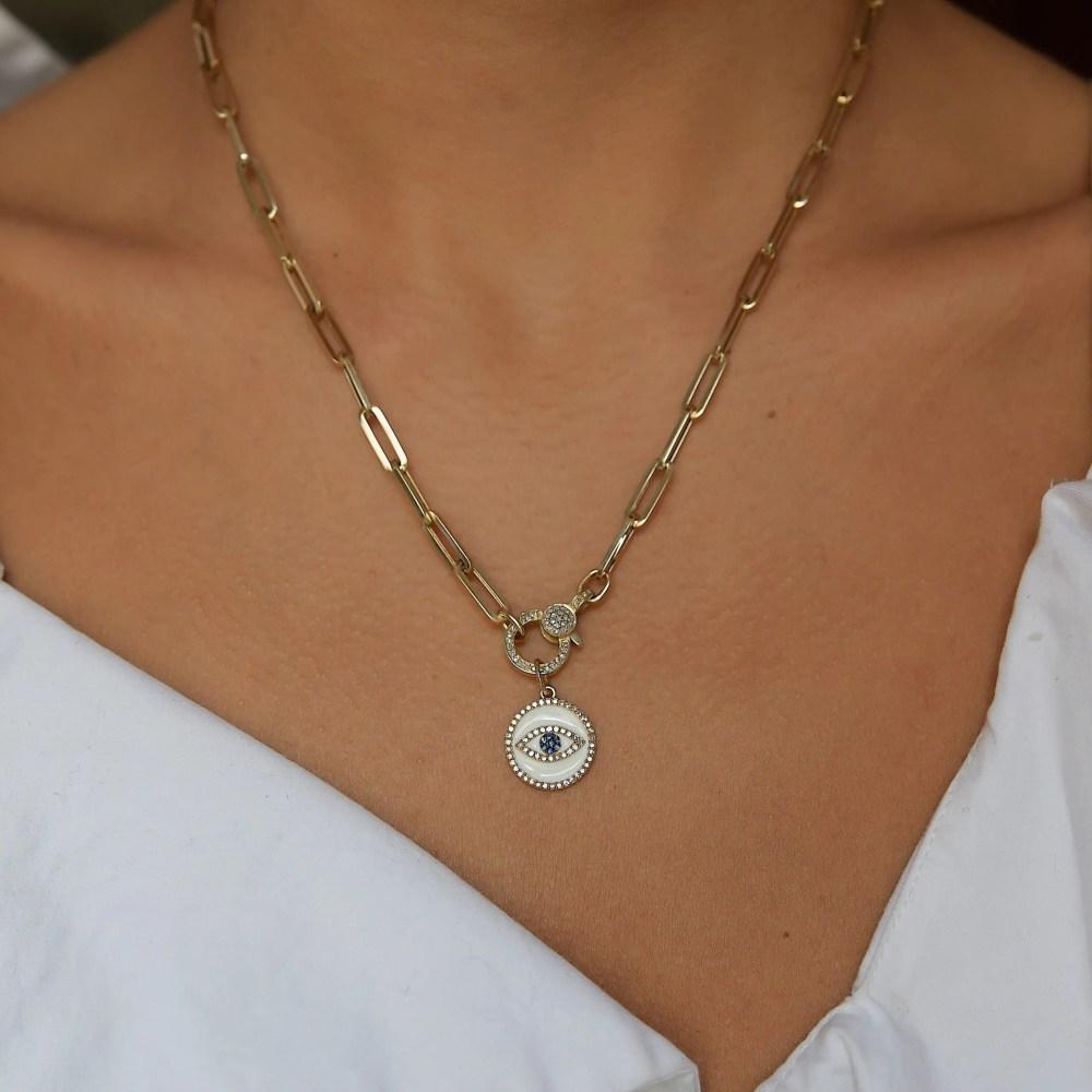 Mini Diamond White Enamel Evil Eye with Sapphires Charm