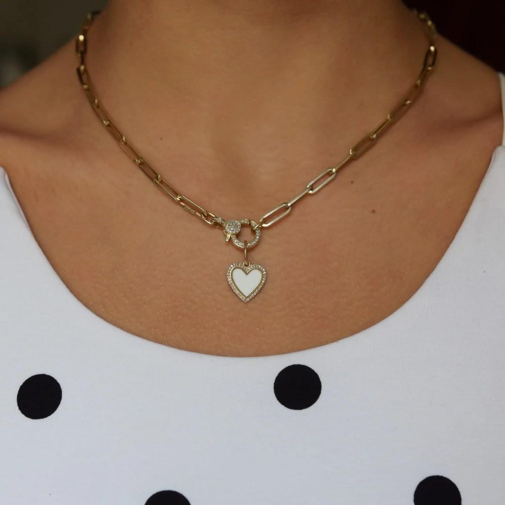 Mini Diamond White Enamel Heart Charm