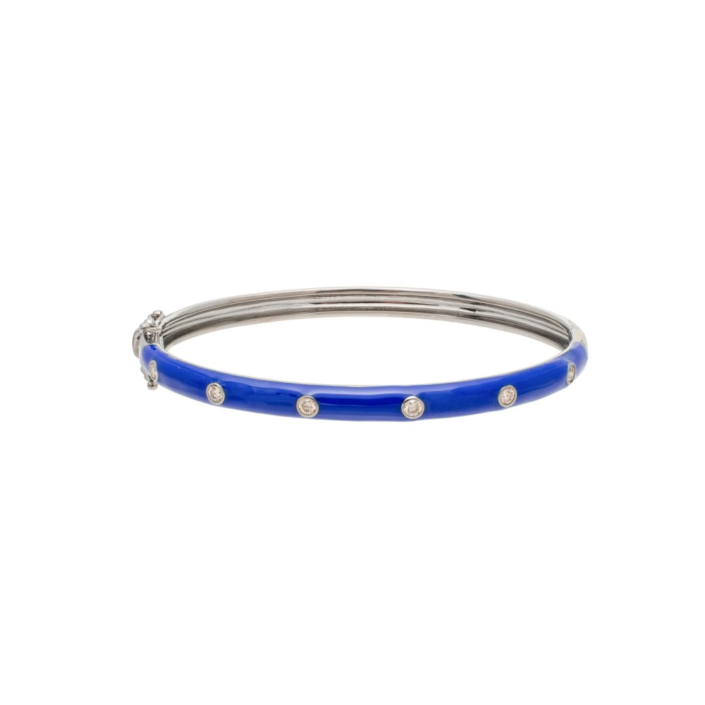 Skinny Lapis Blue Enamel Diamond Bangle Sterling Silver