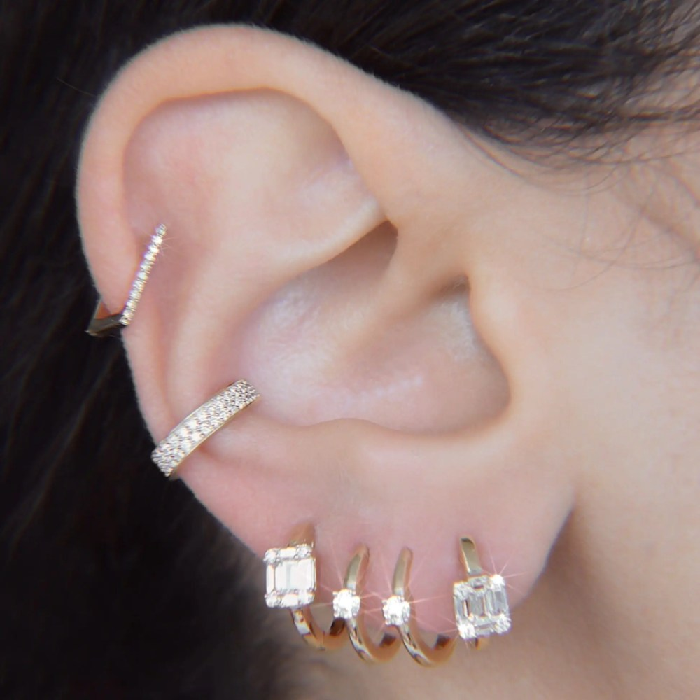 Mini Diamond Square Hoops