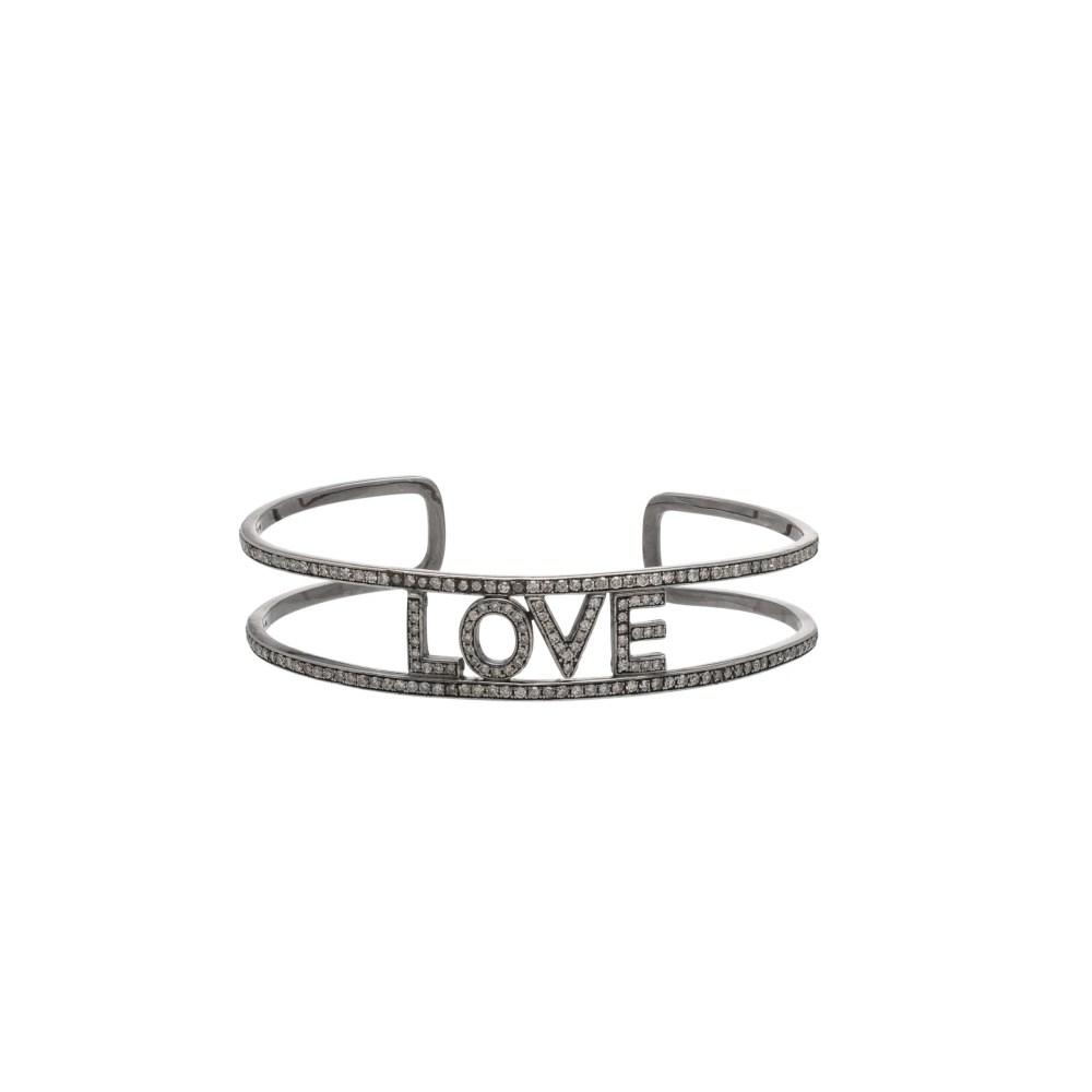 Diamond LOVE Cuff Bracelet Sterling Silver