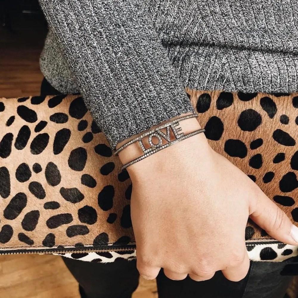 Diamond LOVE Cuff Bracelet