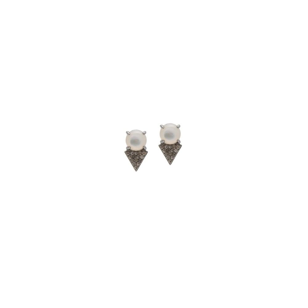 Diamond Pearl Earrings Sterling Silver