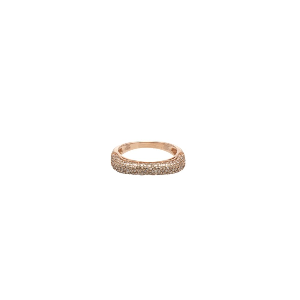 Pave Diamond Squared Eternity Band Rose Gold