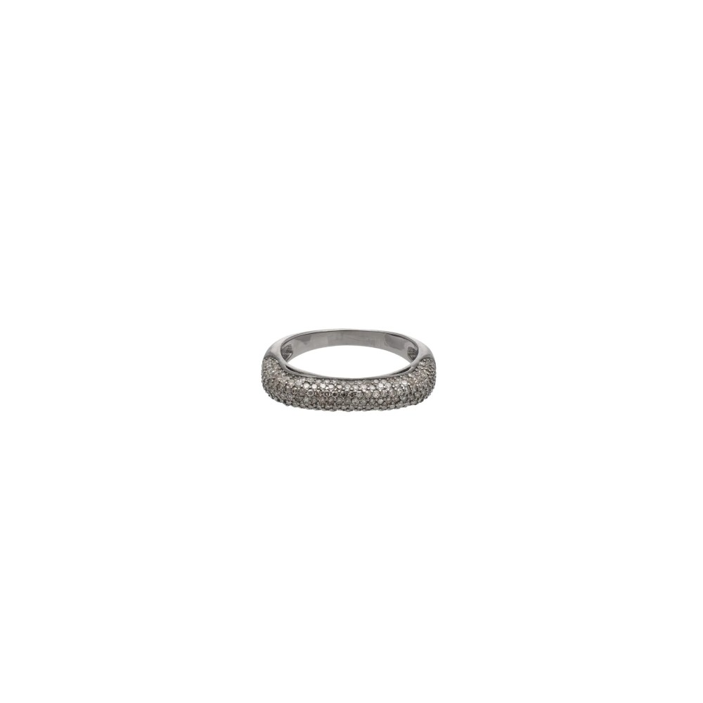 Pave Diamond Squared Eternity Band Sterling Silver