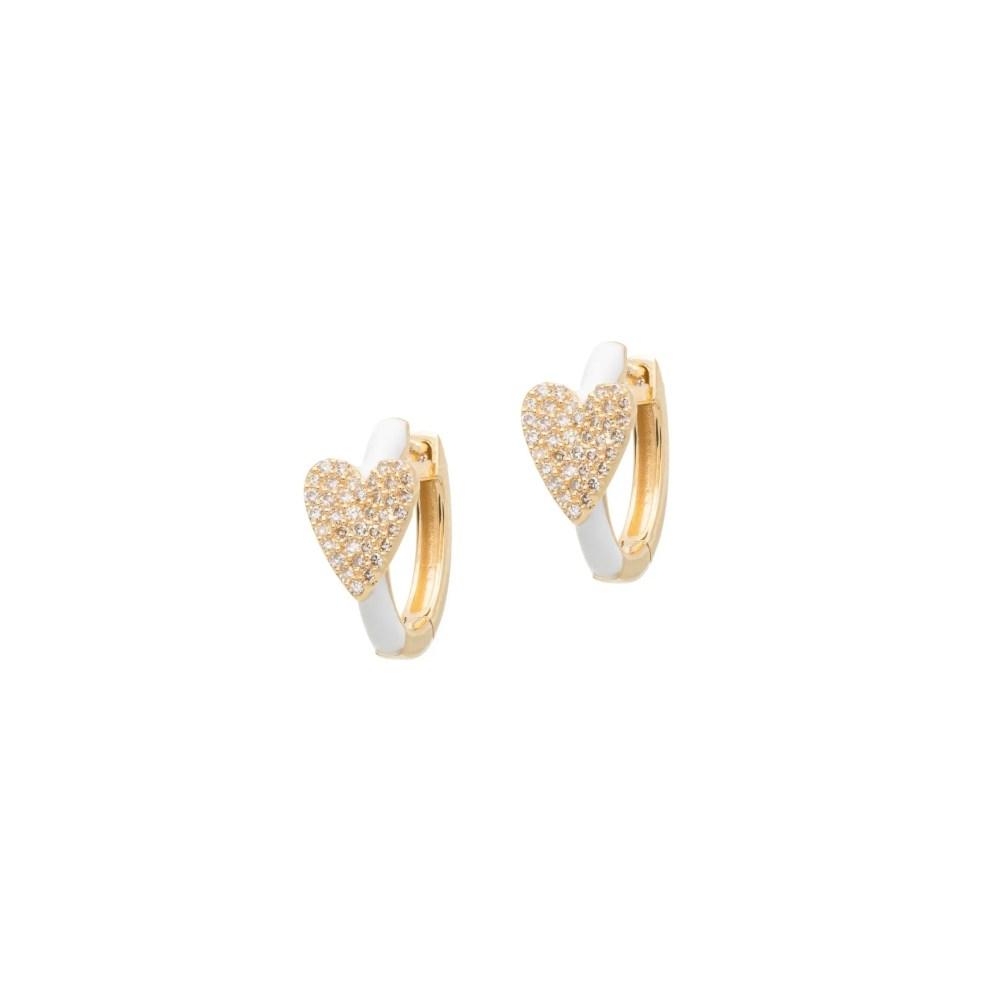 Diamond Heart White Enamel Huggie Earrings 14k Yellow Gold