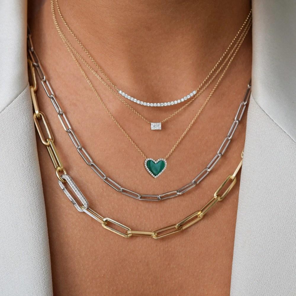 Diamond Mini Malachite Heart Necklace