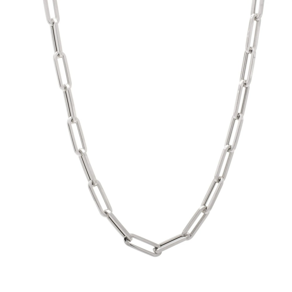 Large Chain Link Necklace White Gold