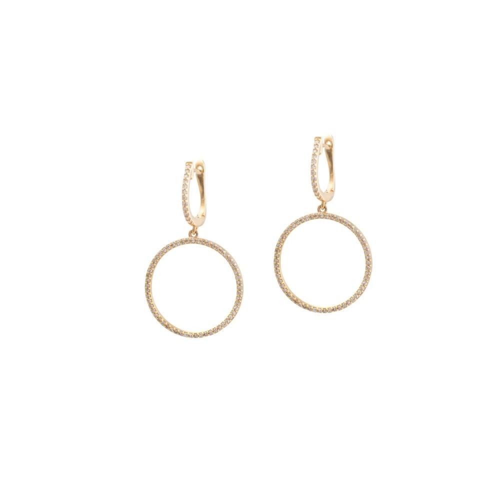 Medium Diamond Dangle Circle Hoop Earrings Yellow Gold