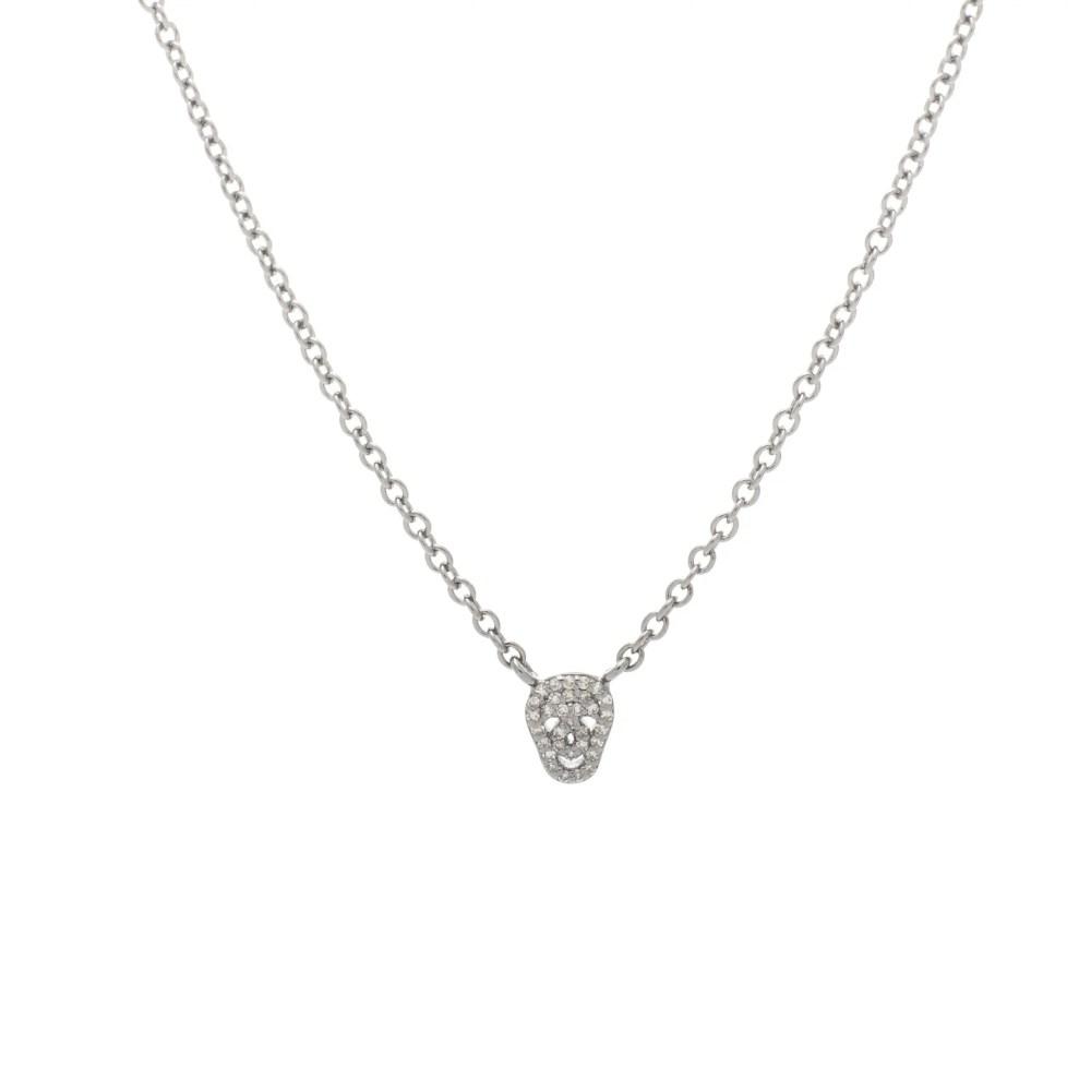 Mini Diamond Skull Necklace Sterling Silver
