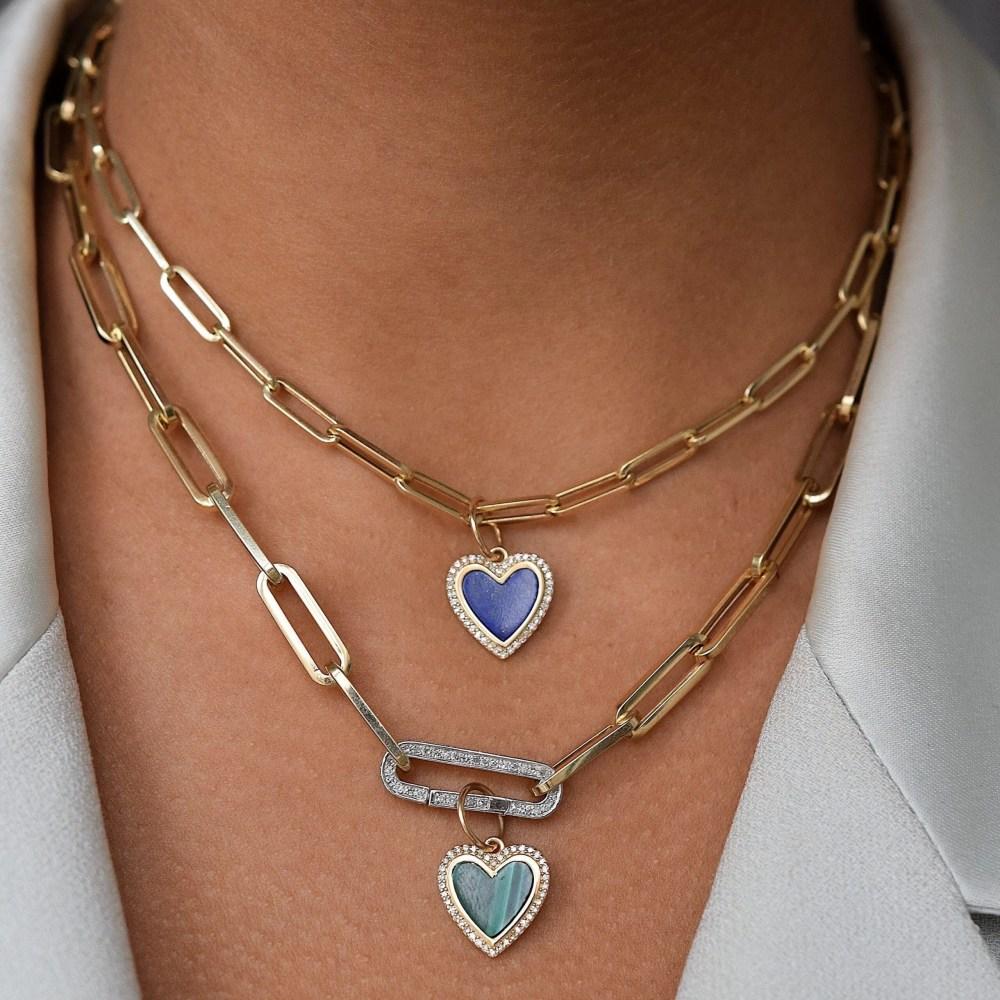 Small Diamond Malachite Heart Charm Gold