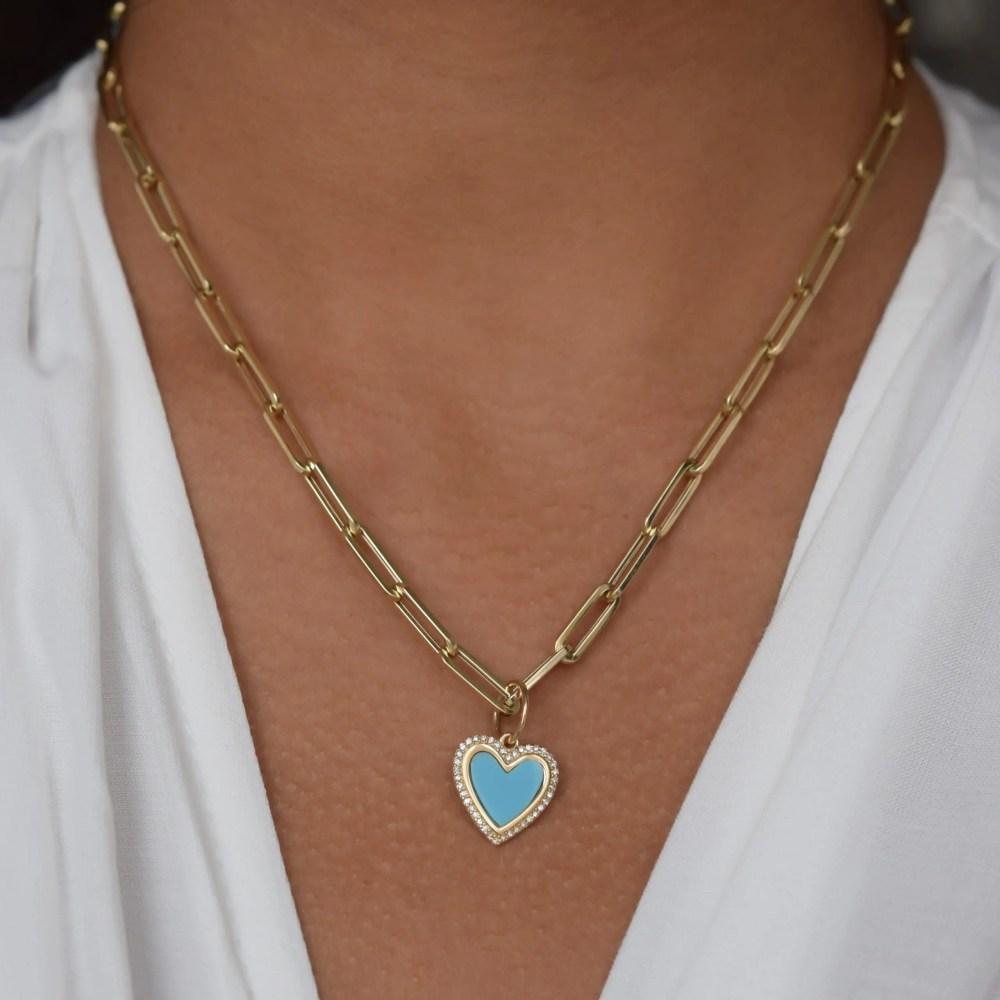 Small Diamond Turquoise Heart Charm