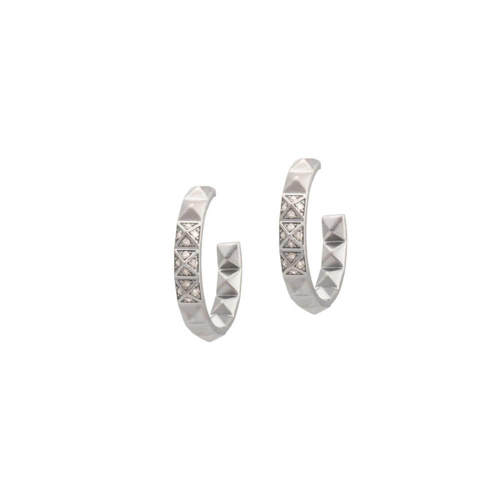 Small Studded Diamond Hoops Sterling Silver