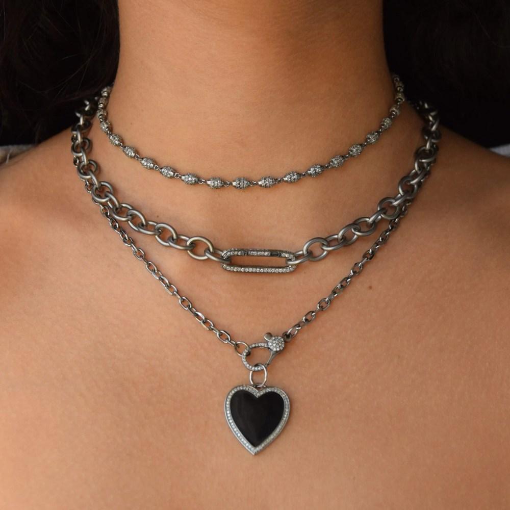 Black Enamel + Diamond Heart Charm