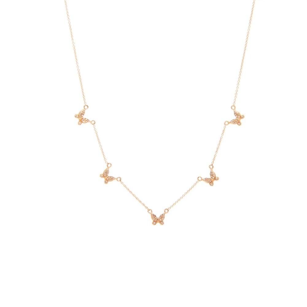 Diamond 5 Butterfly Necklace Rose Gold