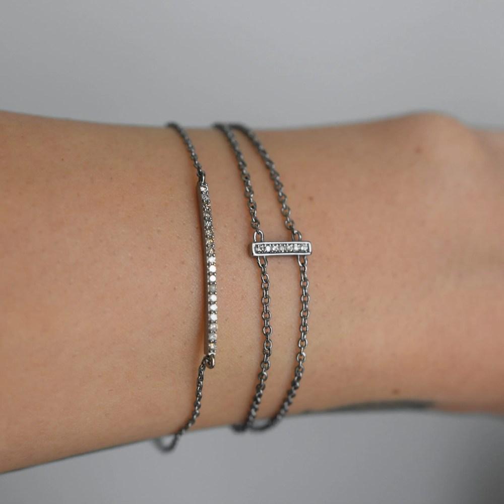 Diamond Bar Double Chain Bracelet