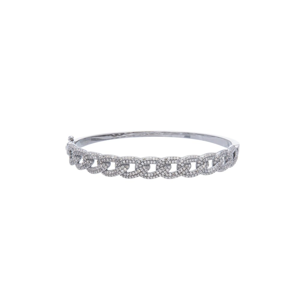 Diamond Cable Link Bangle Sterling Silver