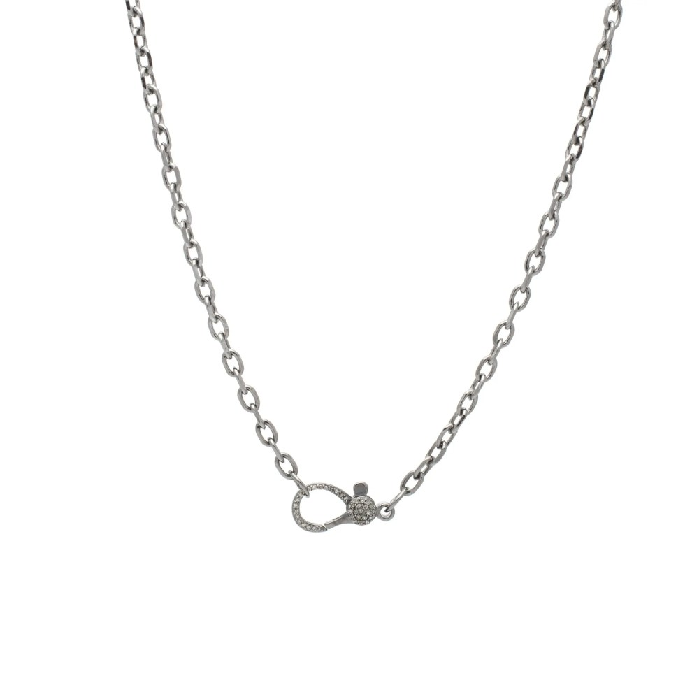 Diamond Lobster Clasp with Small Chain Link Necklace Sterling Silver