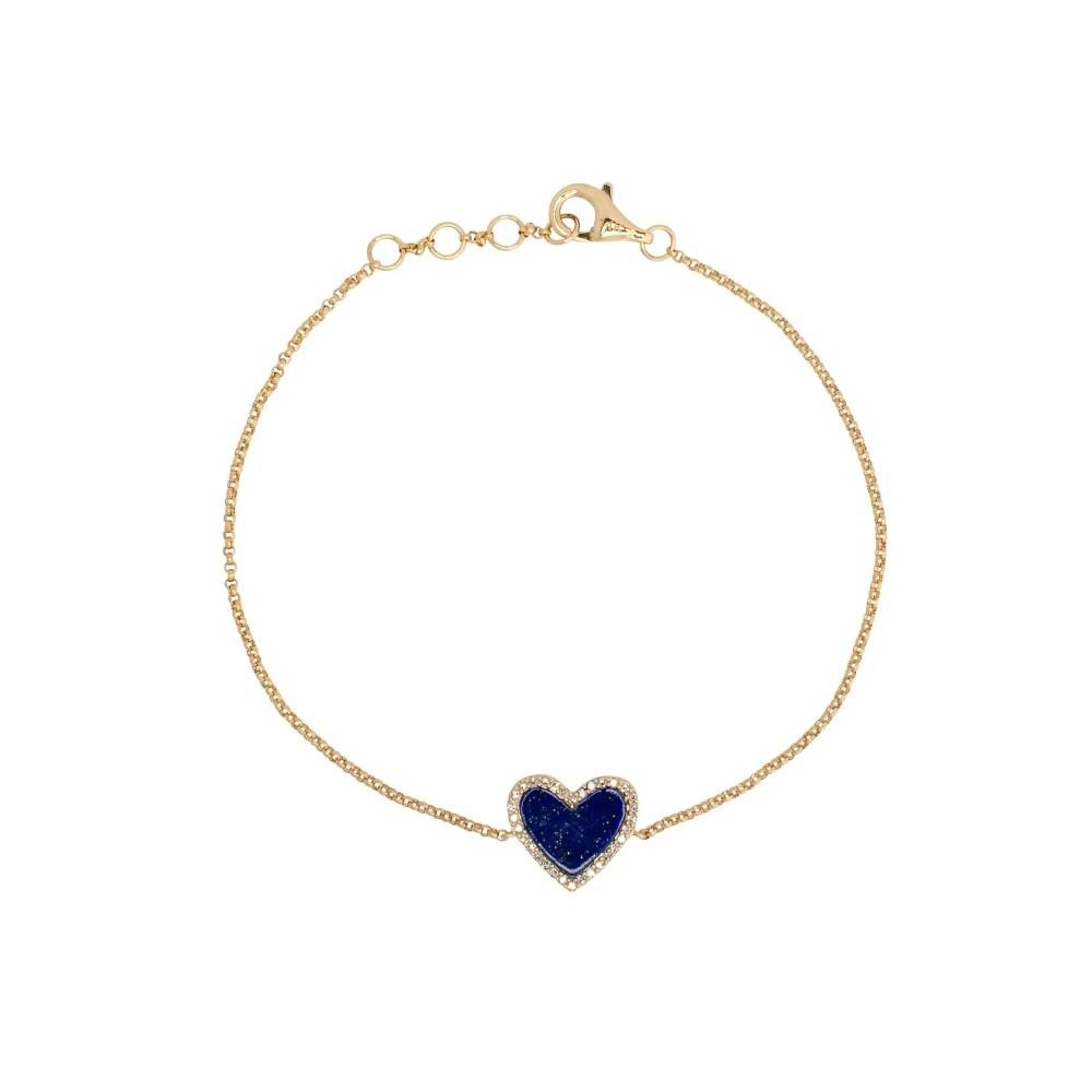 Diamond Mini Lapis Heart Bracelet Yellow Gold