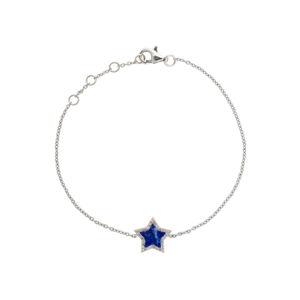 Diamond Mini Lapis Star Bracelet Sterling Silver