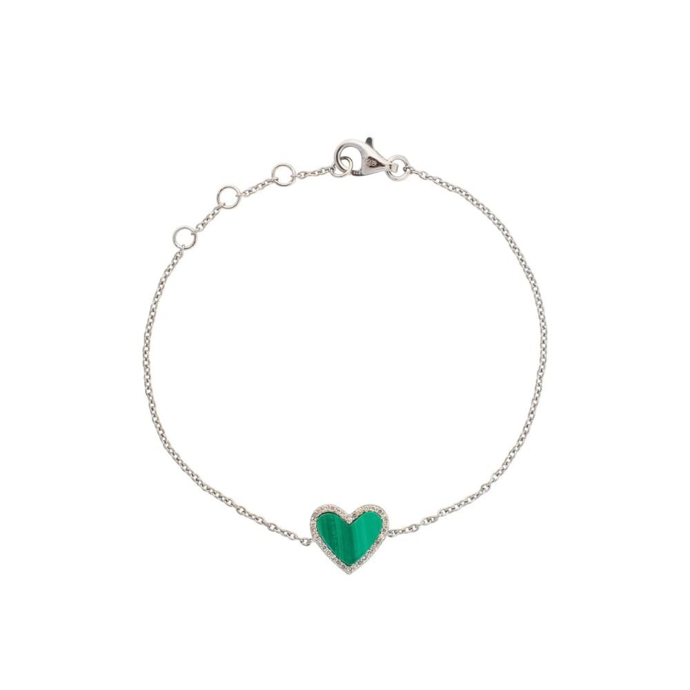 Diamond Mini Malachite Heart Bracelet Silver