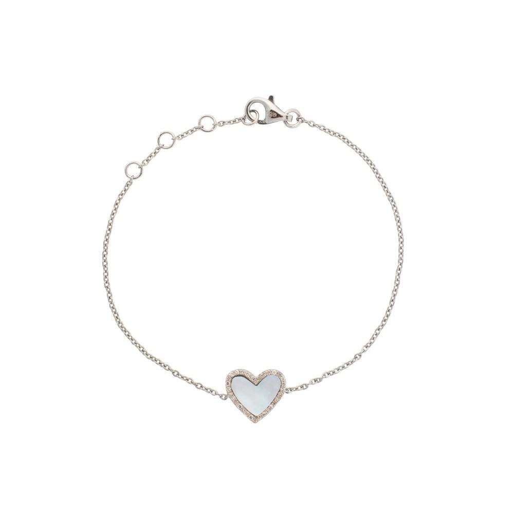 Diamond Mini Mother of Pearl Heart Bracelet Sterling Silver