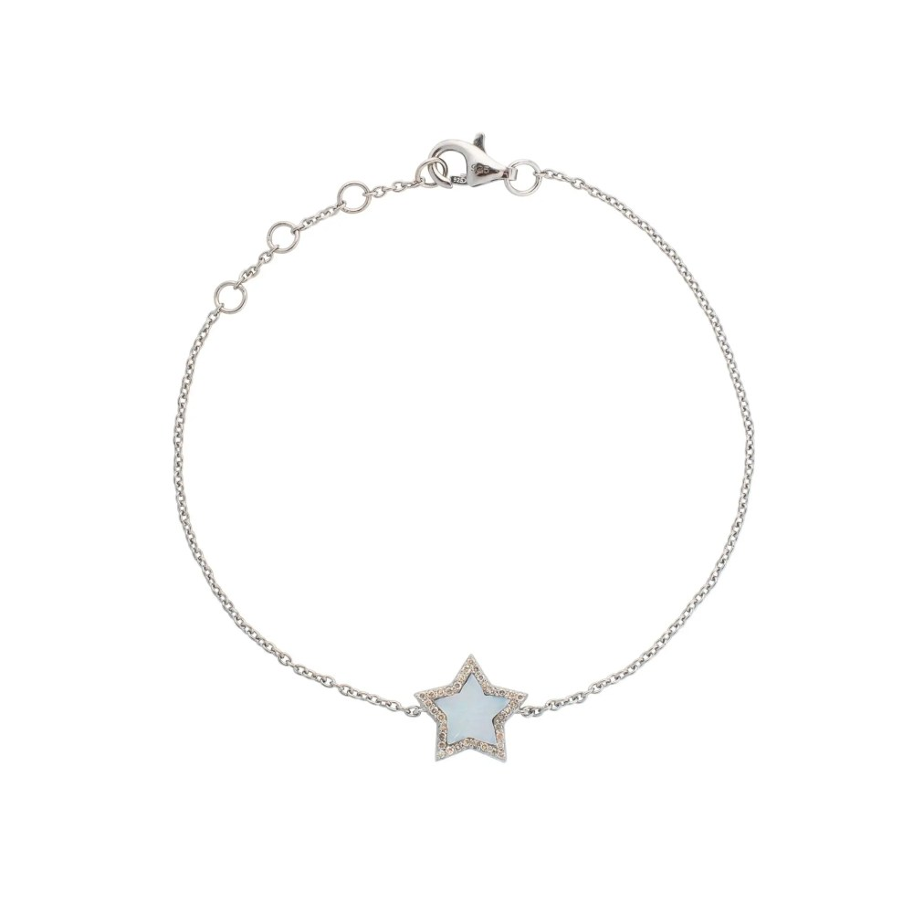 Diamond Mini Mother of Pearl Star Bracelet Sterling Silver